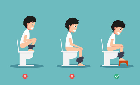 unhealthy vs healthy positions for defecate illustration, vector 版權商用圖片 - 73219640