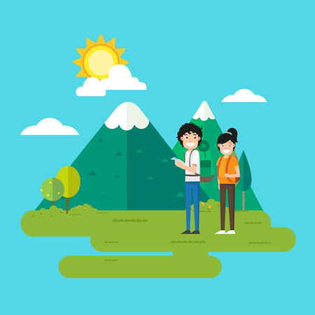 hiking trail: Woman and man walking in the forest,vector illustration Illustration