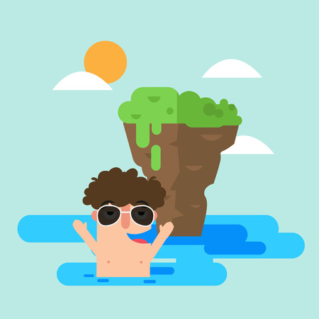 Illustration of man swimming in the sea during summer vector.