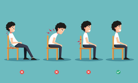 wrong and right ways positions for sitting,illustration, vector