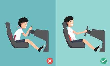 Mejores y peores posiciones para conducir un coche, ilustración, vector