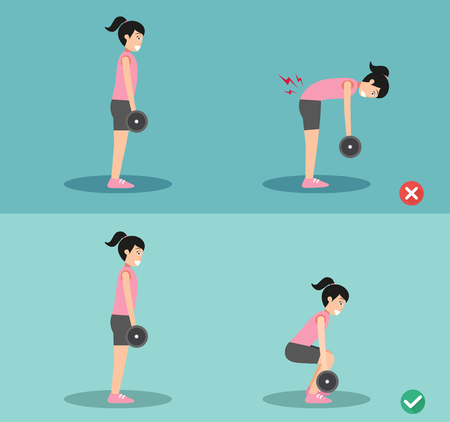 Woman wrong and right deadlift posture,vector illustration