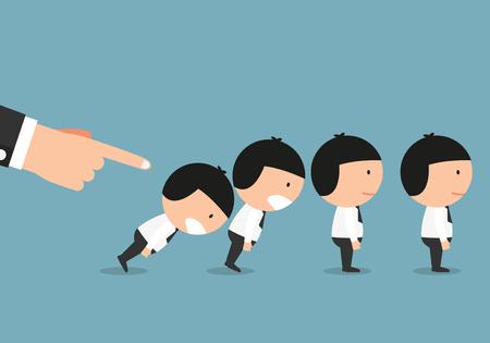 Domino businessman figure fall down vector illustration.