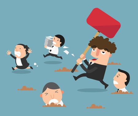 dismissal: The employees running away from their bad boss.illustration,vector Illustration