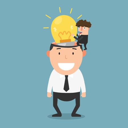 new idea: Successful businessman give another businessman new idea bulb vector illustration.