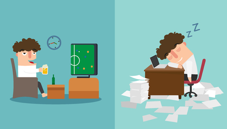 workplace stress: The guy sleeping  late and taking a nap during work vector illustration. Illustration