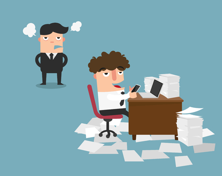 Businessman using mobile phone at work behind his desk while angry director is standing,illustration vector Illustration