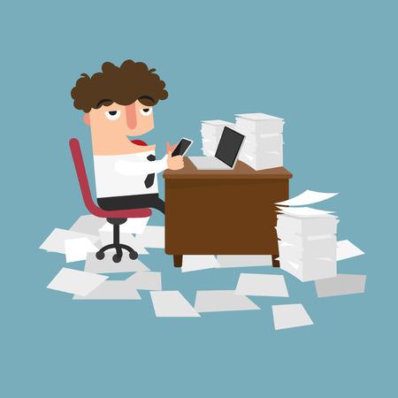 Businessman using mobile phone at work.concept of procrastination.vector illustration.
