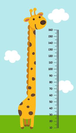Meter de pared con ilustración giraffe.vector. Foto de archivo - 75741623