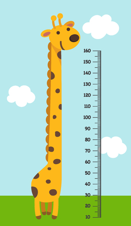 Meter wall with giraffe.vector illustration.