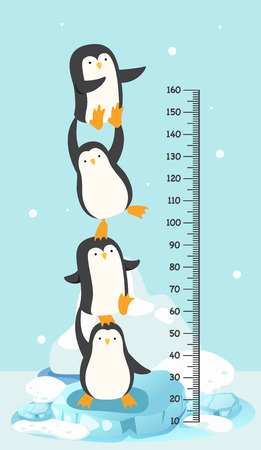 Meter wall with penguin.vector illustration Illustration