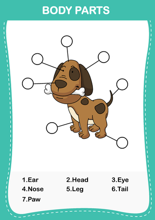 Illustration of dog vocabulary part of body,Write the correct numbers of body parts.vector Stock Vector - 76711054
