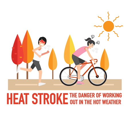 Heat stroke,The dangers of working out in the hot weather.,vector illustration.