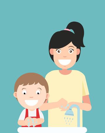 rub: Washing hands,vector illustration.