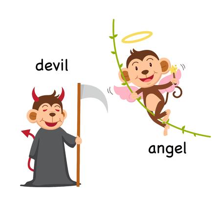 hung: Opposite words devil and angel vector illustration