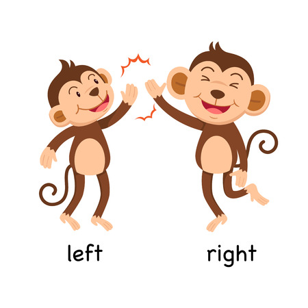 Opposite words left and right vector illustration