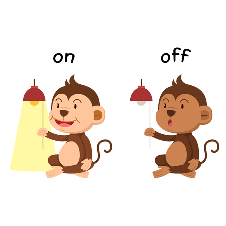 Opposite words on and off vector illustration