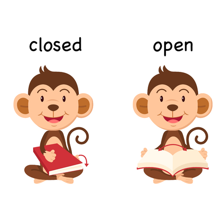 Opposite words closed and open vector illustration