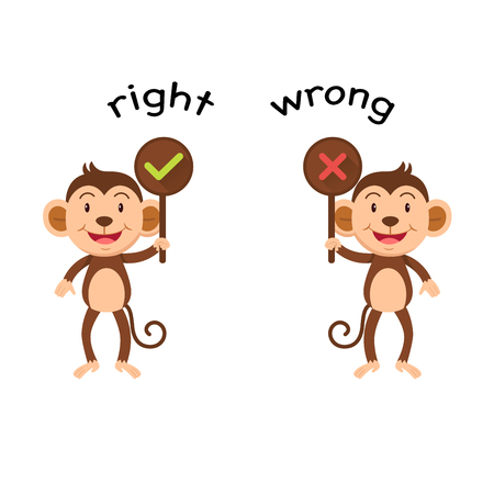 Opposite words right and wrong vector illustration