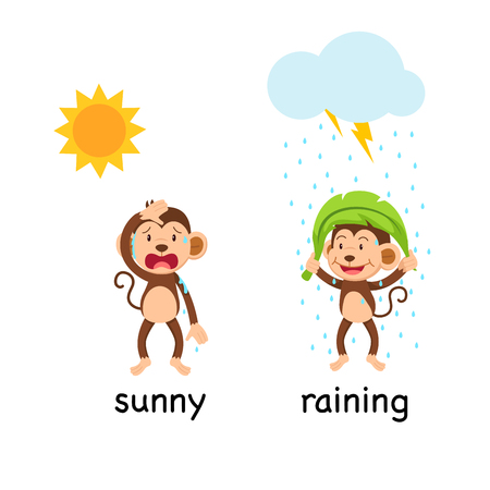 Opposite words sunny and raining vector illustration Иллюстрация
