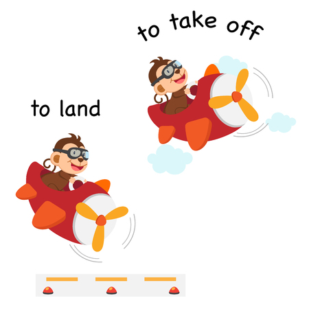 Opposite words to land and to take off vector illustration Illustration