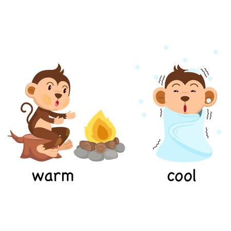 反対言葉を暖色と寒色のベクトル図