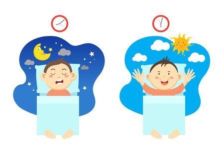 Alzarsi presto e avere sonno sano, illustrazione vettoriale. Vettoriali