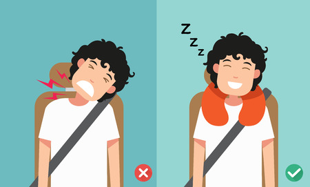 The right posture to sleep while sitting upright,vector illustration. Illustration