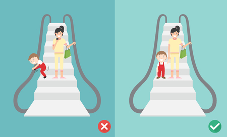 Do and Dont escalator safety,vector illustration.
