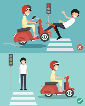 No enviar mensajes de texto, no hablar. Maneras correctas e incorrectas para montar un scooter para prevenir un accidente. Ilustración del vector Foto de archivo - 78690529
