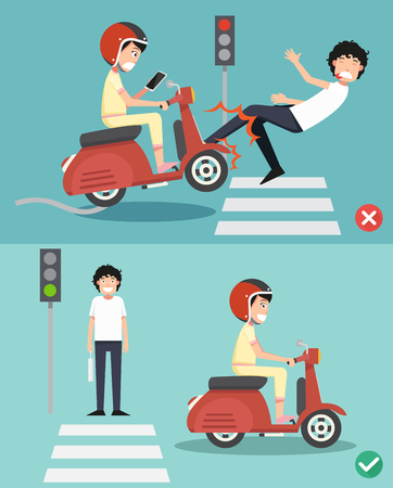 No texting, no talking. Right and wrong ways for riding a scooter to prevent an accident. Vector illustration