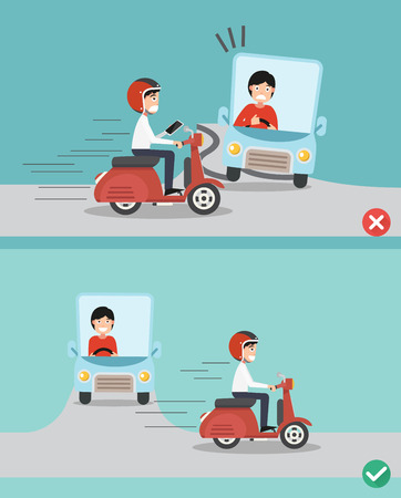 woman cellphone: No texting ,No talking, Right and wrong ways riding to prevent car crashes.vector illustration