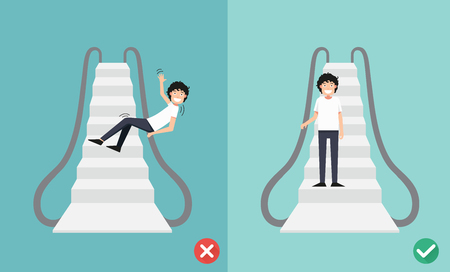 Do and Don't escalator safety,vector illustration.
