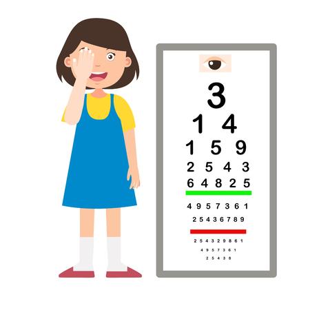 Girl with eye chart test diagnostic vector illustration Stock Illustratie