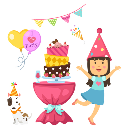 happy birthday party kids set vector illustration Illustration