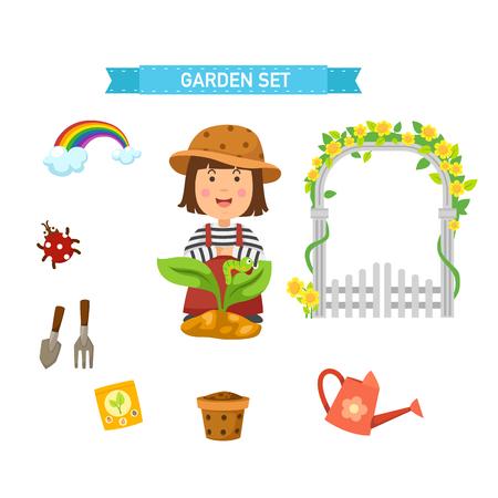 garden set vector illustration Illustration