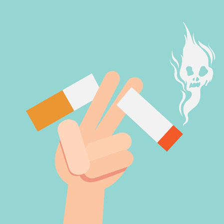 cut a cigarettes,concept for anti smoking,vector illustration.