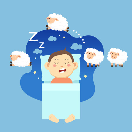 A sleeping boy while dreaming of counting sheep, vector illustration.