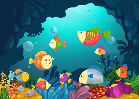 underwater fishes: Illustration of sea underwater background vector
