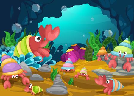 Illustration of sea underwater background vector