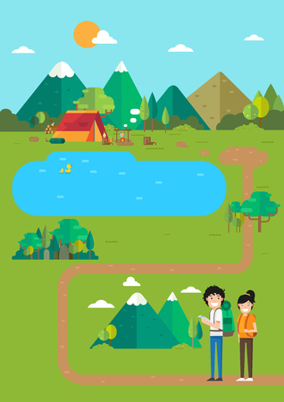 Camping landscape,campsite place in mountain lake, time to travel.vector illustration