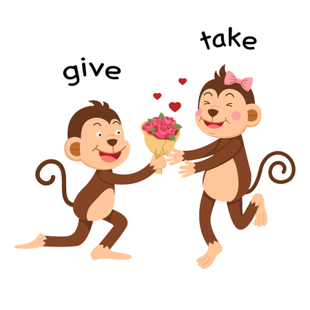 Opposite give and take vector illustration