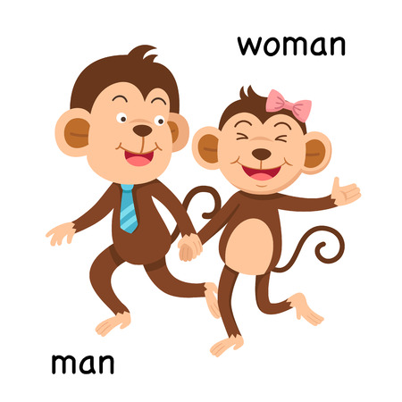 Opposite man and woman vector illustration