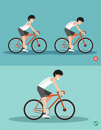 Best and worst positions for riding bike ,body posture,illustration, vector
