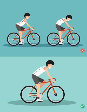 Mejores y peores posiciones para montar bicicleta, postura corporal, ilustración, vector Foto de archivo - 81564073