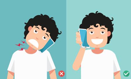 똑똑한 전화 illustration.vector를 통해 대화하기위한 잘못하고 정확한 위치