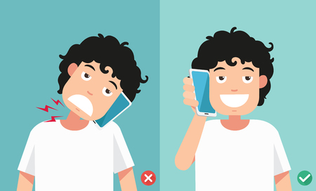 Wrong and correct positions for talking via smart phone illustration.vector Illustration