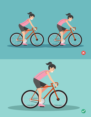 Best and worst positions for riding bike ,body posture,illustration, vector Stock Vector - 81561845