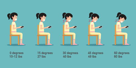 The bad smart phone postures,the angle of bending head related to the pressure on the spine,body posture.vector illustration Illustration
