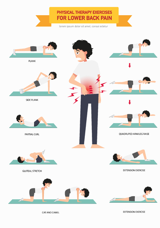 Physical therapy exercises for lower back pain infographic, vector illustration.